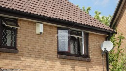 UPVC rosewood fascia white soffit black square guttering