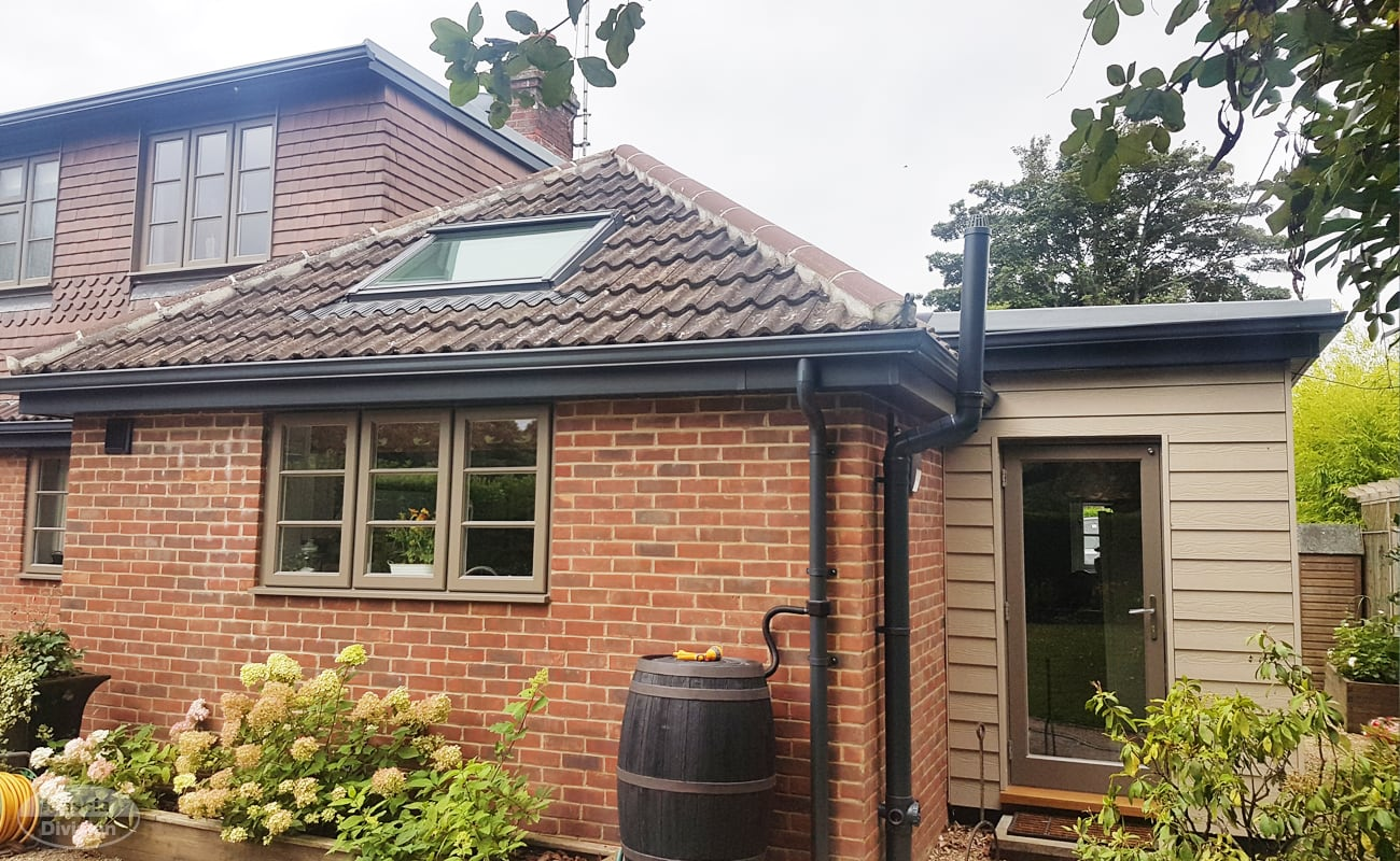 Grey fascias, soffits and seamless guttering